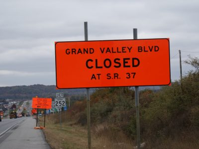 Grand Valley Boulevard closed at SR 37 in September 2019 to build an overpass at the location.