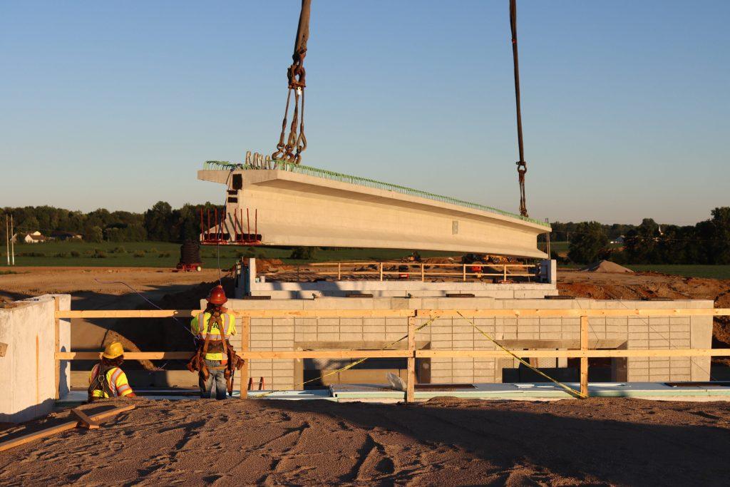 Bridge beam setting